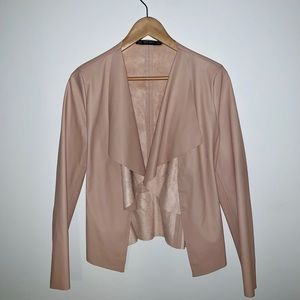 Zara tan faux suede leather waterfall front jacket